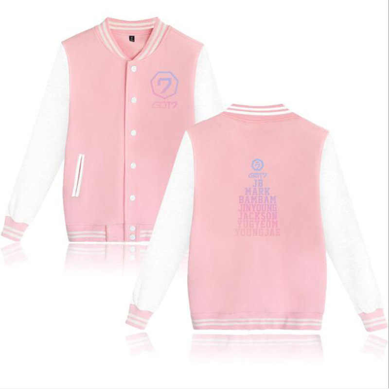 KPOP GOT7 Hoodies Mannen Vrouwen Bambam Yugyeom Youngjae Mark Jackson Jinyoung K-POP KREEG 7 Fleece Baseball Uniform Vrouwelijke Jas Jas