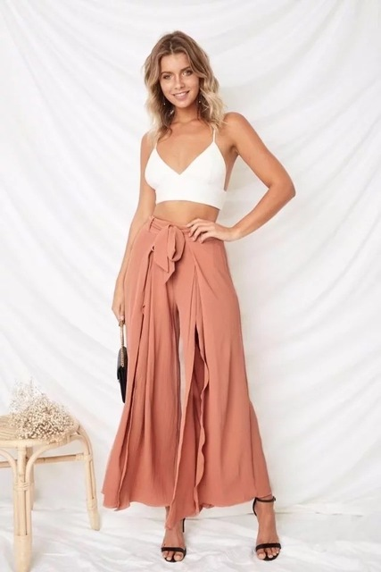 39ef7d54921f Summer 2018 New Vacation Boho Style Wide Leg Pants Women s Loose Split Long  Trousers High Waist