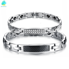 rainso elegant stainless steel energy health magnetic bracelet with magnet rhinestones friendship bracelets for woman BONISKISS His & Her Couple Matching Set Health Care Stainless Steel Magnetic Crystal Accents Energy Bangle Bracelets