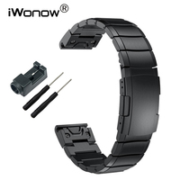 Stainless Steel Watchband 20 22 26mm Easy Fit Strap Tool For Garmin Fenix 3 HR 5X