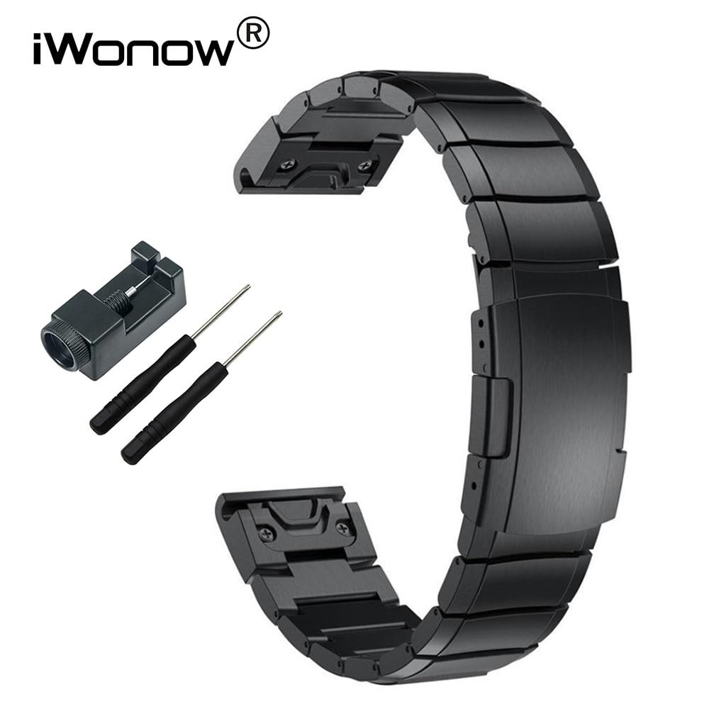 Cinturino Dell'acciaio inossidabile 20mm 22mm 26mm Misura Semplice Cinghia + Strumento per Garmin Fenix 3/HR/5X/5 S/5/Forerunner 935 Orologio Della Fascia Wristband
