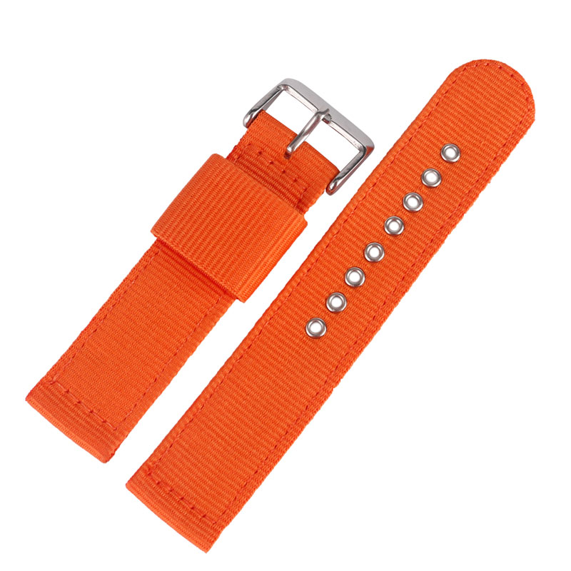 20/22/24mm Orange High Quality Replacement Pin Buckle Soft Bracelet Sport Watch Strap Band Outdoor Military Nylon 22 24mm silicone pin buckle wristwatch band mens womens watch strap high quality jd0108