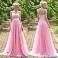 Long A-line Bridesmaid Dresses 2017 Pink Wedding Party Gowns vestido de longo madrinha fiesta Lace Cheap Maid of honor dress