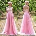 Larga una línea de vestidos de dama de honor 2017 wedding party pink vestidos vestido de madrina longo fiesta de encaje barato vestido de dama de honor