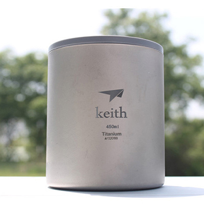 Keith My Bottle 450ml Titanium Double-wall Mug With Lid Water Glass No Odor Anti-acid Drinkware Cup Camping Hiking 152g Ti3340 keith pure titanium double wall water mugs with folding handles drinkware outdoor camping cups ultralight travel mug 450ml 600ml
