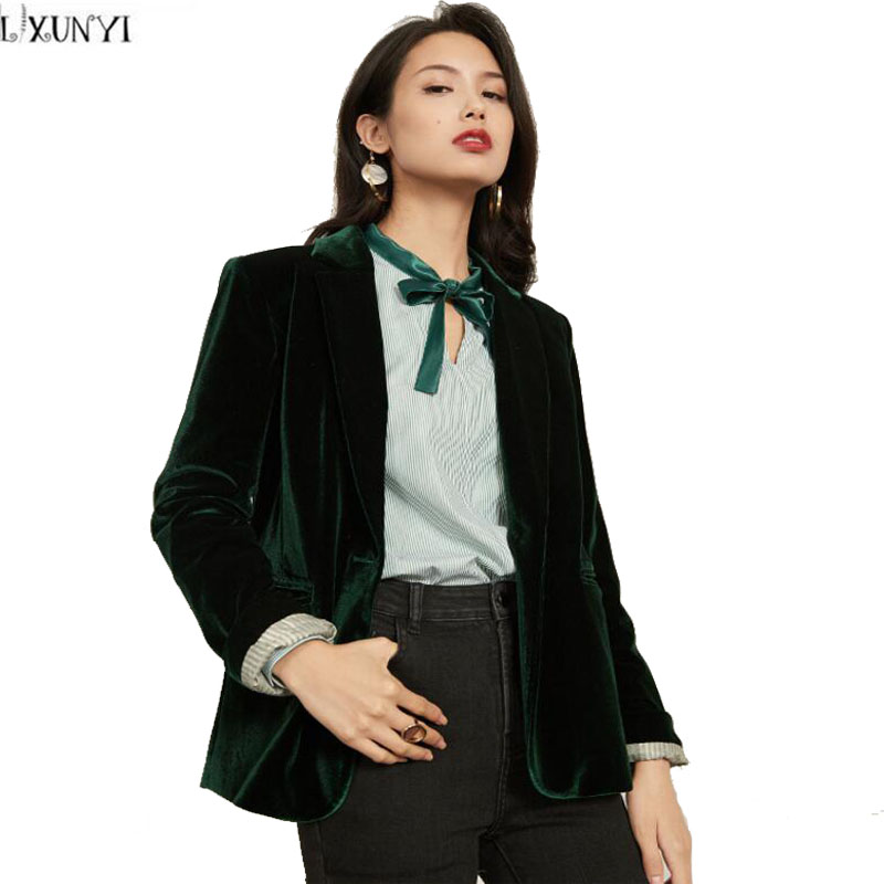 Lxunyi 2018 Spring Autumn Vintage Casual Plaid Blazer Jacket Womens