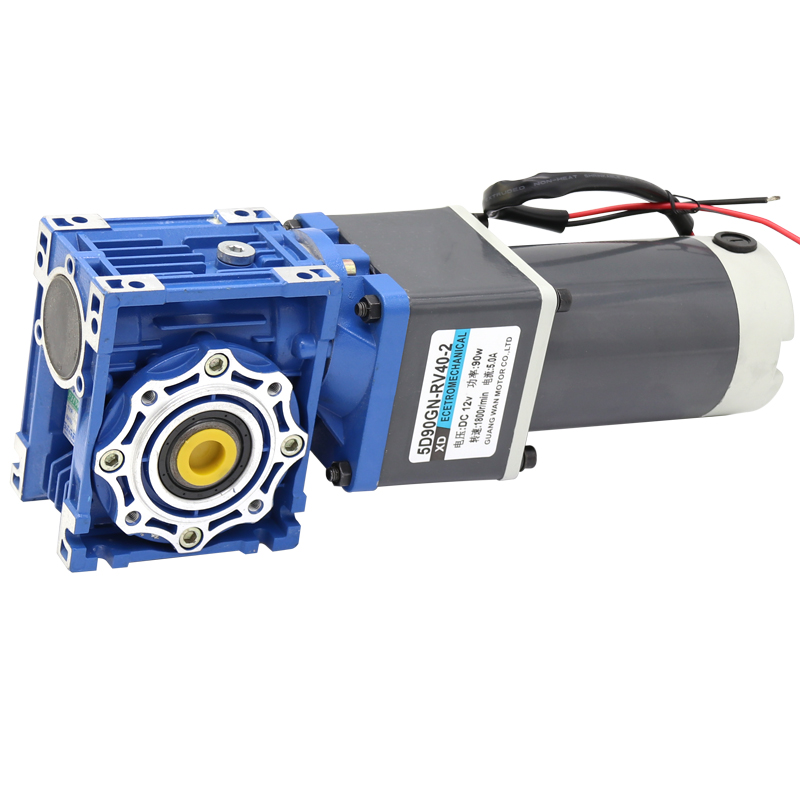0.1rpm to 1.5rpm RV40 DC Worm Gear Reducer Motor 90w 12v 24v DC Ver 2- stage Gearmotor NMRV40 Self-Gearing Lock CW CCW