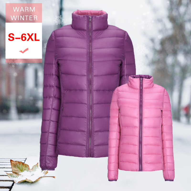 New Winter Women White Duck Down Reversible Jacket Female Ultra Light Both Sides Jacket Big Size Warm Casual Coat Stand Collar