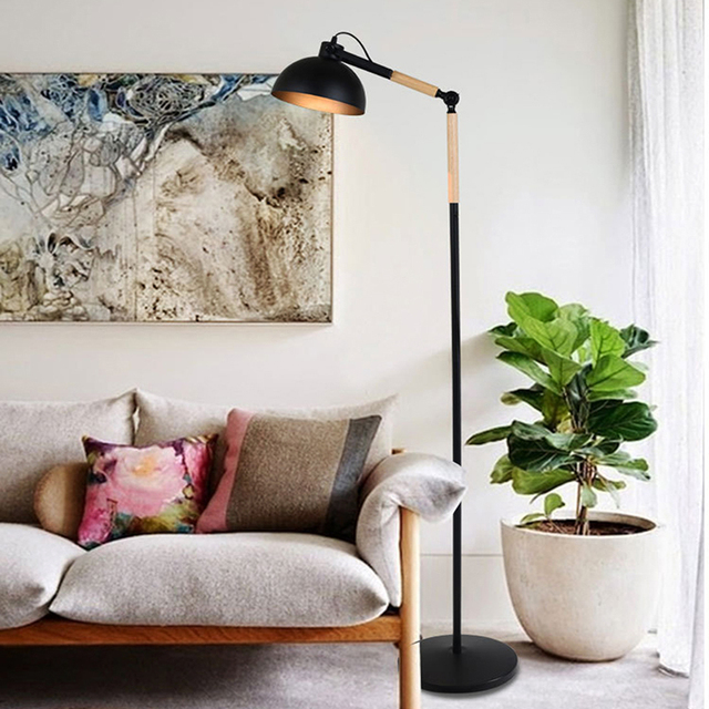 Light Stand For Living Room Wood Surround Fireplace Floor Iron Art E27 Rotated Head Beside Sofa American Style Grow Bracket Shooting