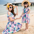 free shipping 2017 New summer Family dresses kids girl dress beach dress women girls dresses