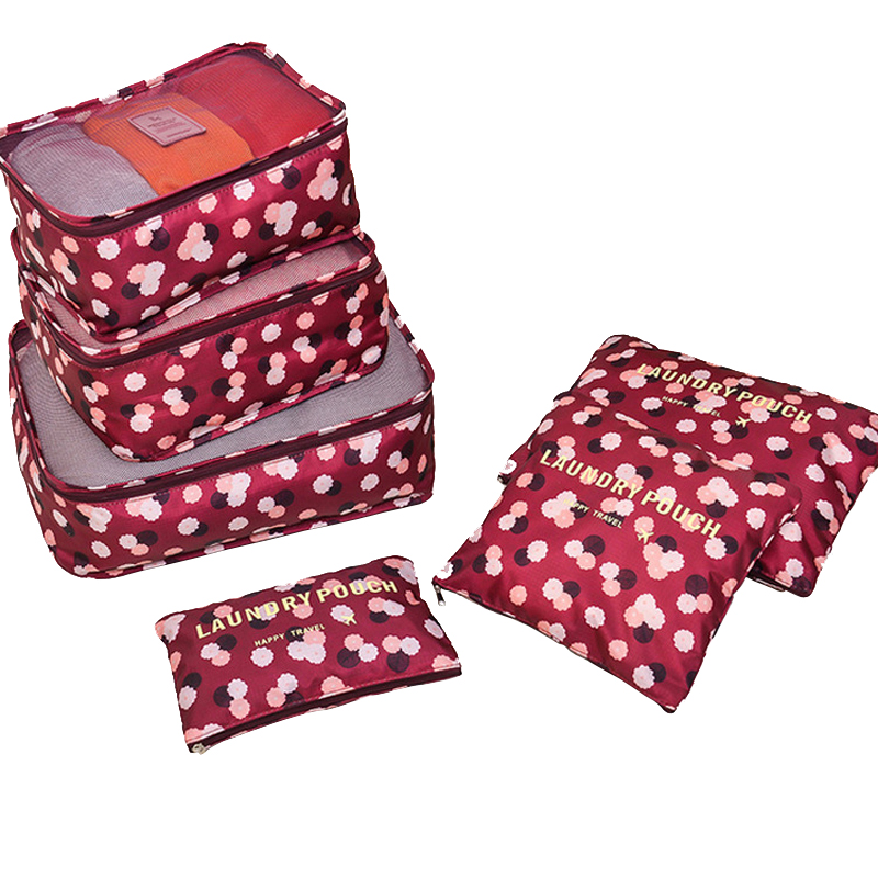 6 Pcs/ set High Quality Oxford Mesh Cloth Travel Bag Organizer Luggage Packing Cube Organizer Personal Hygiene Kits Travel Bags