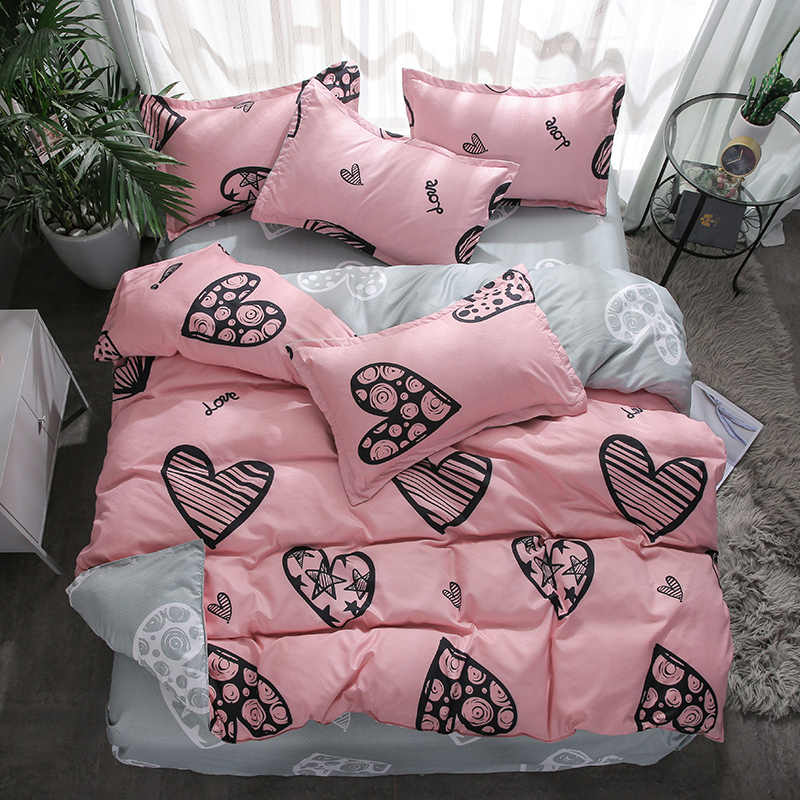 Home Textile Girls Pink Bedding Set Single Bed Linen Twin Full Queen King Size Love Heart Duvet Cover Pillowcases Grey Bed Sheet