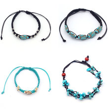 4 Pcs/ Set Beach Turtle Beads Rope Chain Anklet Bohemian Summer Bracelet Foot Jewelry Barefoot Sandal Gifts for Women