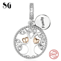Tree Of Life Love Heart CZ Customized Beads For Women Fit Authentic Pandora Bracelet Charms Silver