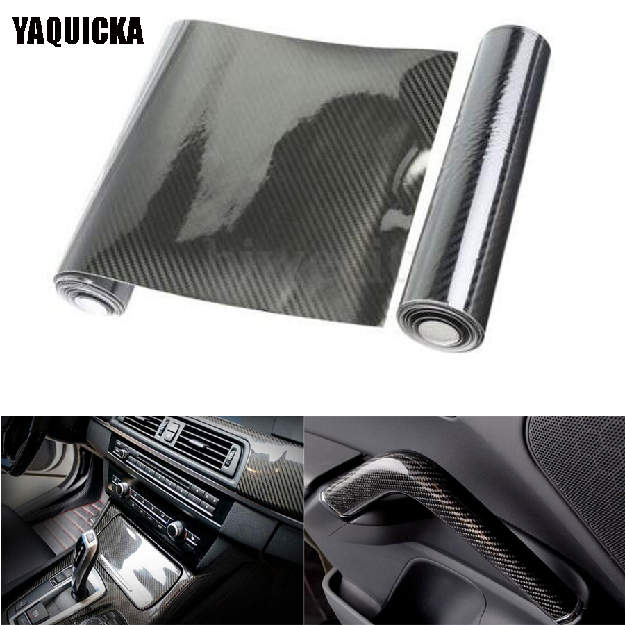 YAQUICKA New 5D Shiny Glossy Car Black Carbon Fiber Vinyl Wrap Film Sheet Sticker Decals 12x60 For Volkswagen Audi Bmw etc 1pcs 0 5mm thickness 100x250mm 200x500mm 250x250mm 400x250mm 400x500mm 500x500mm carbon fiber plate sheet glossy 3k plain weave