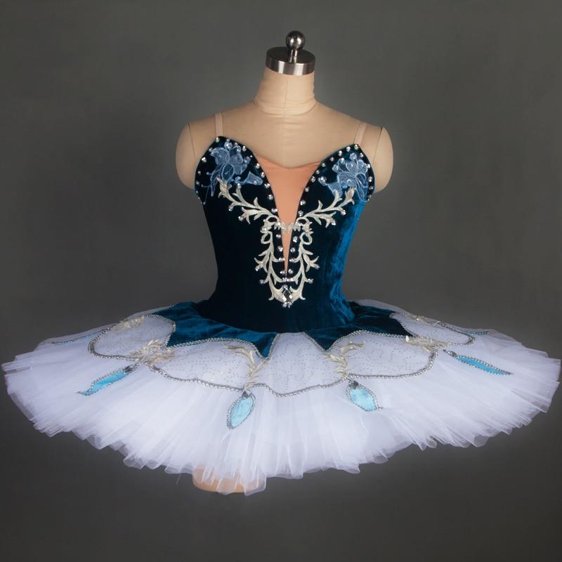 Customer size made professional ballet costume tutu women/girl stage performance ballet tutu ballerina blue velvet tutu