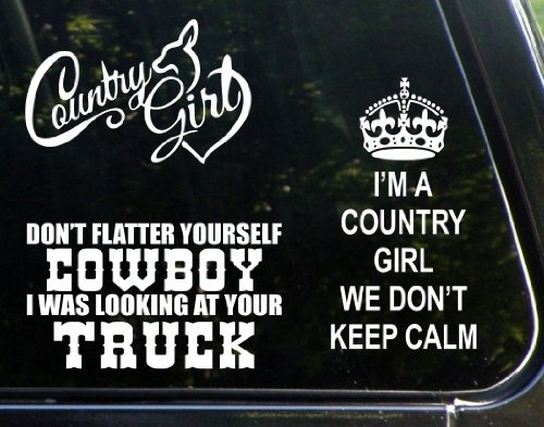 Car styling 1sets 3kinds ultimate country girl set of 3 decal stickers was looking at your truck decals bumper sticker in car stickers from automobiles
