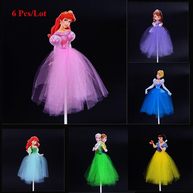 Princess Birthday Supplies Mermaid Snow White Cake Topper Girls Decoration Sofia Cinderella Rapunzel Cupcake Toppers