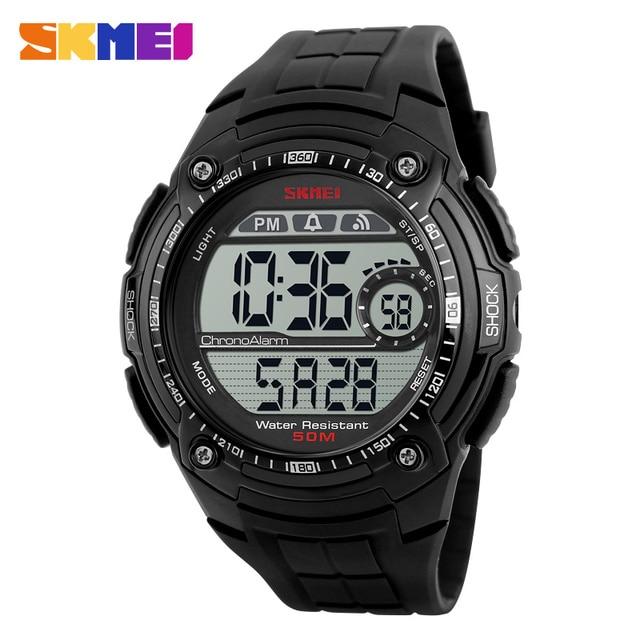 SKMEI 1203 Men Watch Digital Multifunction Sport Wristwatch Back Light Chrono 12/24 Hour Clock PU Resin Strap Waterproof Watches