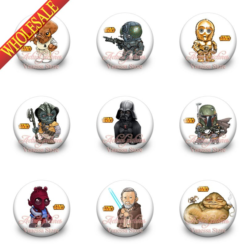 Hot sale 9pcs Star War 1.2 inches & 30mm Tin Buttons Pins Badges Brooches Round Badges fashion collection Kids Christmas Gift