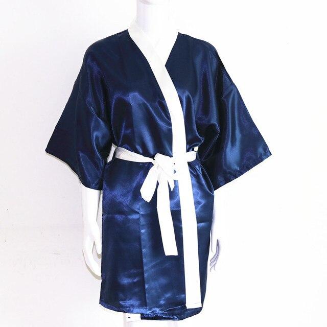 Sexy Navy Blue Plus Size Brides Wedding Robe Dress Women s Elegant Print  Satin Nightwear Flowers Kimono Bathrobe Gown Pajamas 0afef904474