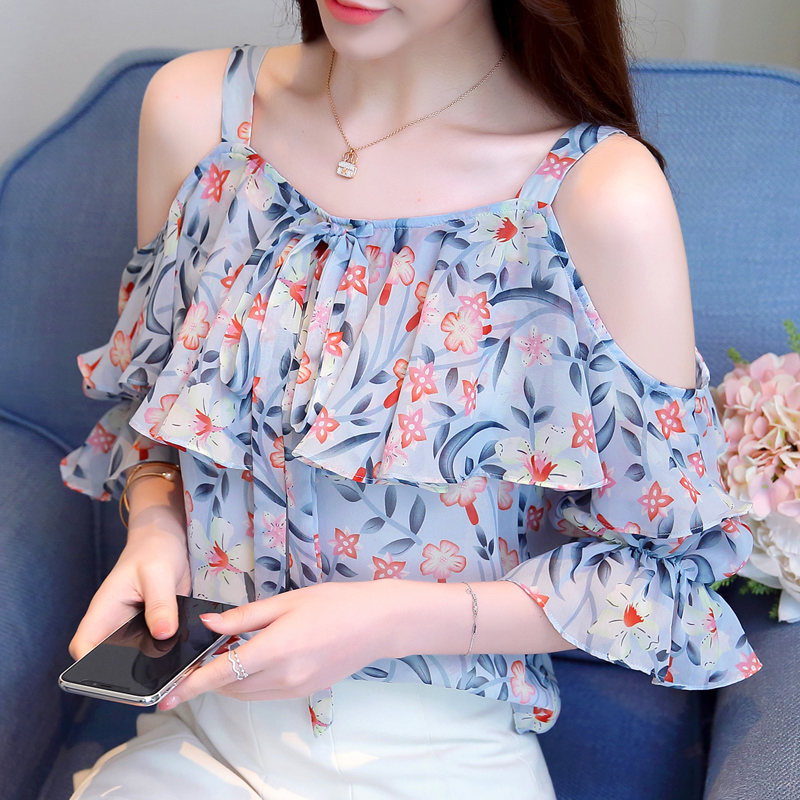 Women's Clothing Bella Philosophy 2019 Spring Women Casual Print Blouses Female Sexy V-neck Short Tops Full Butterfly Sleeve Chiffon Blouse Ture 100% Guarantee