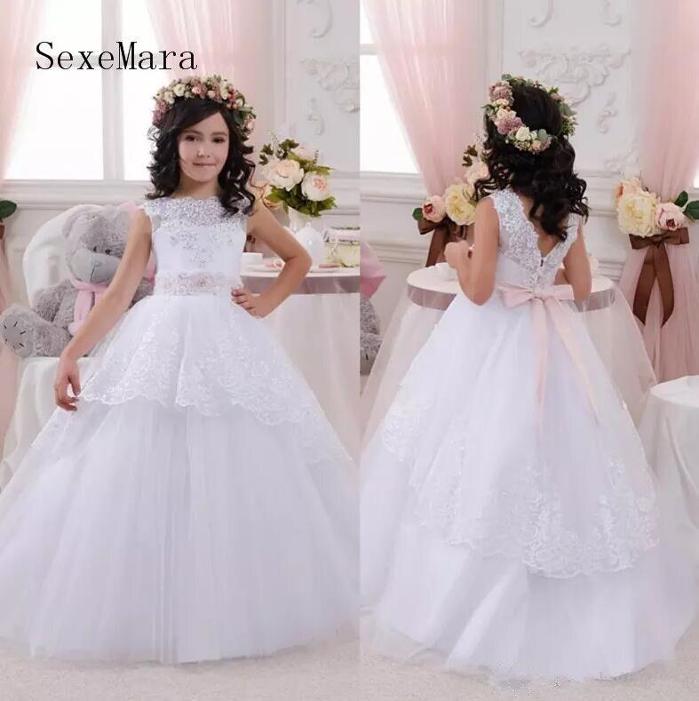 Прелестный 2018 Новинка, цветастые платья для девочек с лентой Бато декольте дети носит белое платье для причастия Пышное Платье