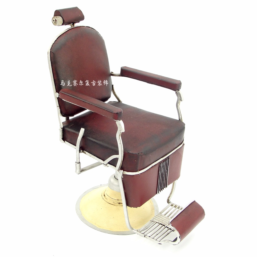 Small iron retro model decorations crafts creative barber chair decoration decoration of the micro metal props ...