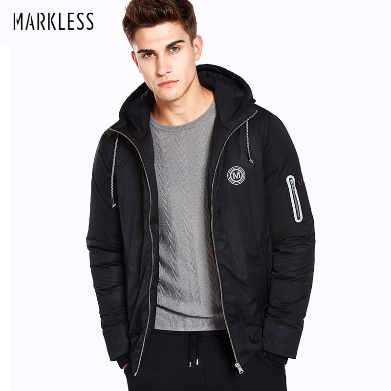 Markless Winter Warm Down Jacket Men Brand Clothing Fashion Casual Black Hooded Down Outwear Warm Parkas Thick Down Coats