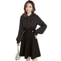 Spring Women Elegant One Piece Dresses Black Polka Dot Dress For Woman Fake 2PCS Vestidos Mujer Bowknot Collar Office Outfits XL