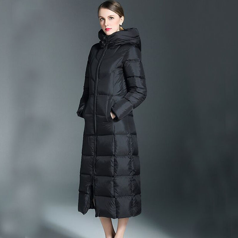 High Quality 2017 New Fashion Women Parka Winter Jackets Women White Duck Down X-Long Thick Large Size Hooded Winter Down Coats