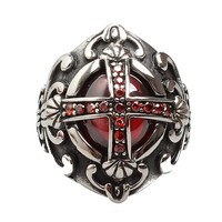 Precious Red Stone Cross Titanium Stainless Steel Vintage Men Ring Male Punk Gothic Wide Band Big Men Antique Silver Retro Rings