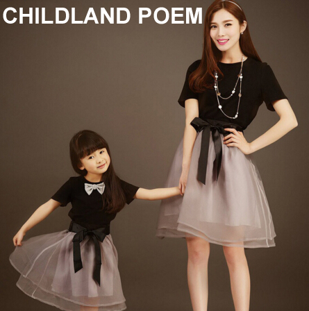 matching mother daughter dresses 2016 summer T shirt +skirt mom and daughter dress family look mother daughter matching clothes