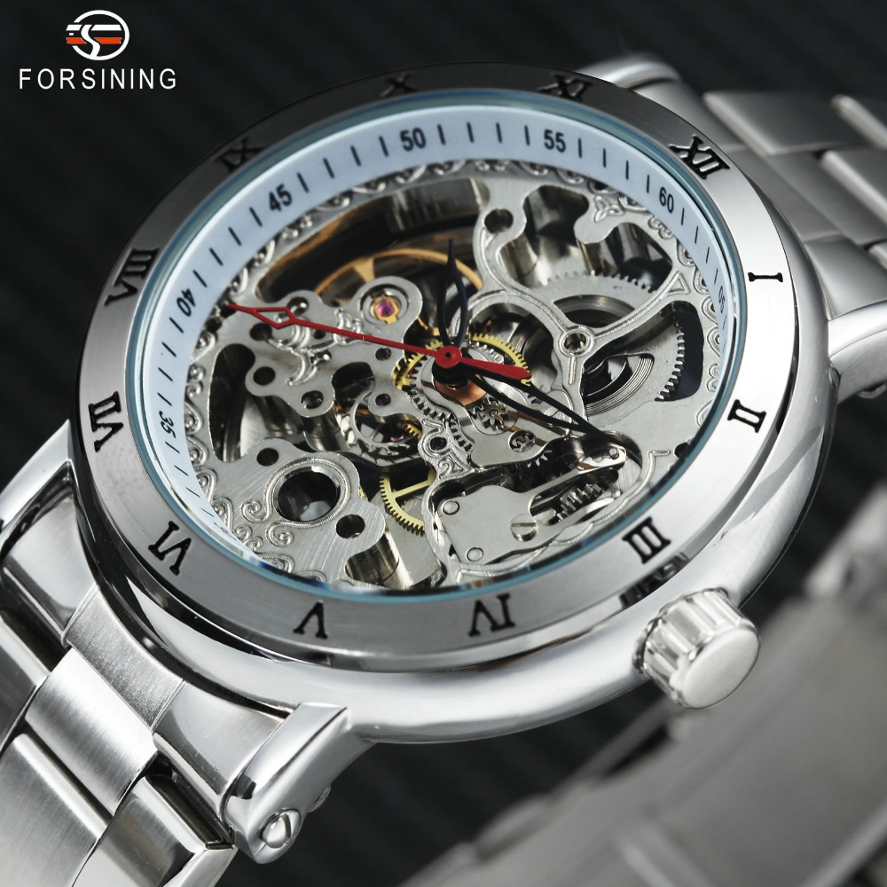 FORSINING Skeleton Mechanical Watch Men Silver Stainless Steel Strap Roman Numerals Bezel Top Brand Luxury Automatic Wristwatch forsining men s watch vogue skeleton mechanical leather analog classic wristwatch color silver fsg8090m3