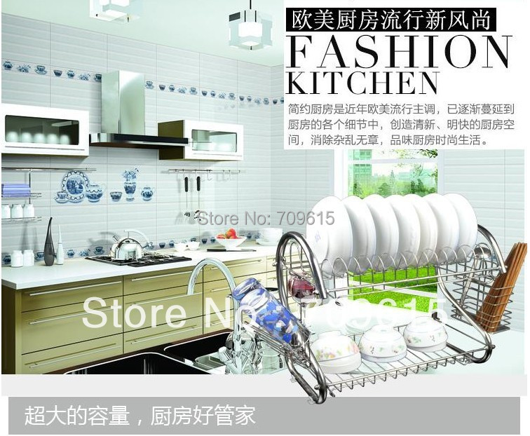 Stainless steel bowl rack drain double layer dish shelf storage products - MY Home--Make Home Beautiful & Life Comfortable store