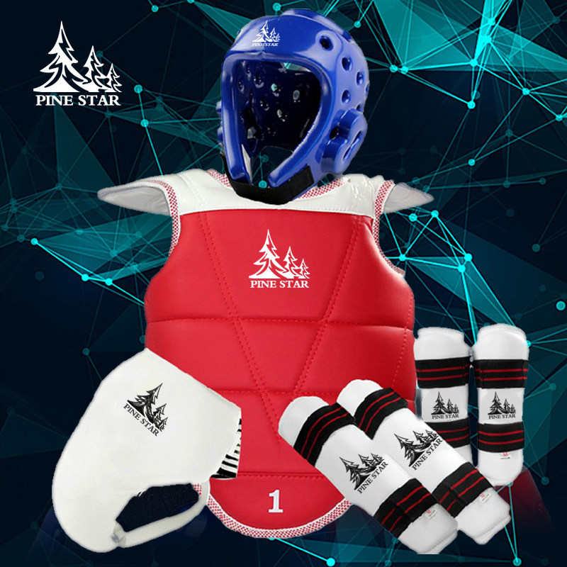 PinStar TKD WTF Approved TAEKWONDO Sparring Gear Set (Helmet, Forearm, Shin Protector & Free Double Chest Guard,Groin Guard) taekwondo protective gear set wtf hand chest protector foot shin arm groin guard helmet 8pcs children adult taekwondo karate set page 8