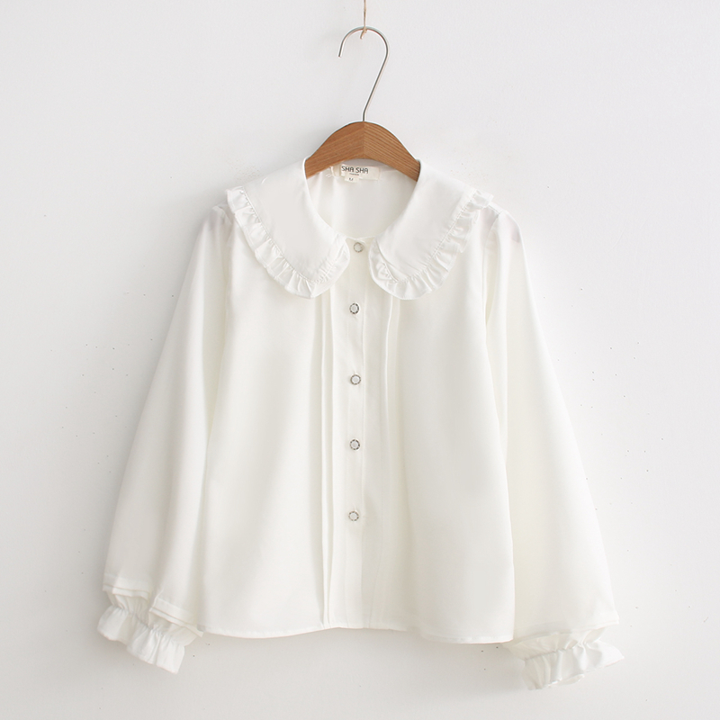 2019 Gothic LOLITA Blouse Shirt Peter-Pan Colar Cosplay Kawaii Shirt Lo Peplum Tops White Blouse