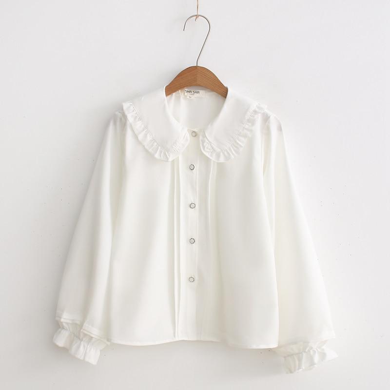 2019 Gothic LOLITA Blusa Peter-Pan Colar Cosplay Kawaii Camisa Lo Peplum Tops Blusa Branca