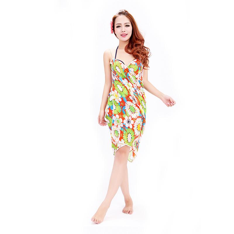 Women Beach Dress Swimwear Sexy Sling Beach Wear Dress Sarong Bikini Cover-ups Wrap Pareo Skirts Towel Flower Open-Back Swimsuit 4