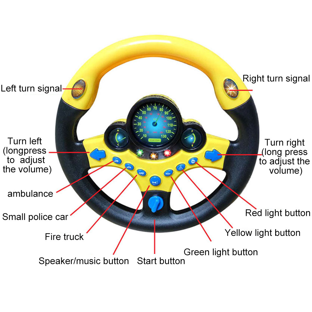 Electronic Simulation Steering Wheel With Light  Baby Musical Developing Educational Toys Vocal Toys For Children Birthday