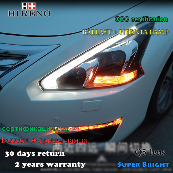 Hireno Headlamp for 2013-2015 Nissan Altima teana Headlight Assembly LED DRL Angel Lens Double Beam HID Xenon 2pcs 2pcs purple blue red green led demon eyes for bixenon projector lens hella5 q5 2 5inch and 3 0inch headlight angel devil demon