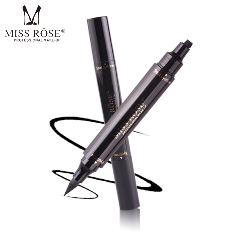 Professional Women Double-end Eyeliner Makeup Liquid Waterproof Quick Dry Black Color With Stamp Eyeliner Seal Pencil maquiagem