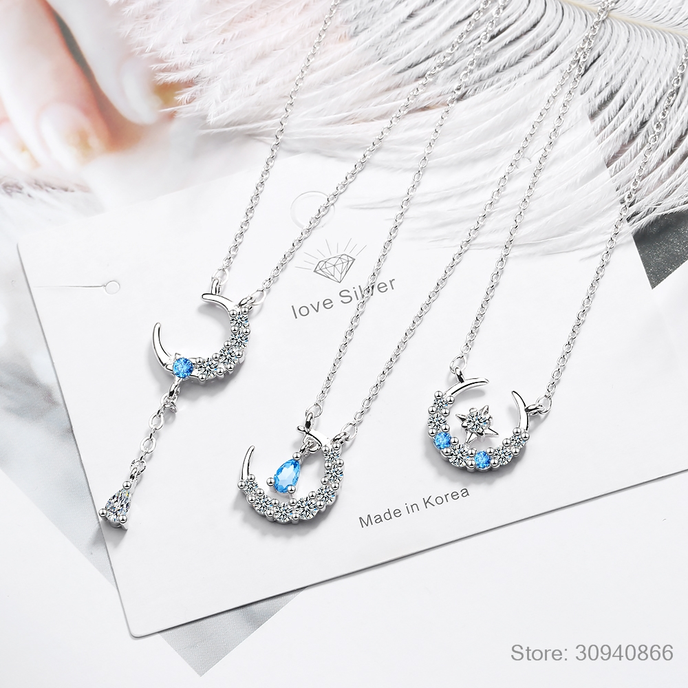 3 Style Simple Star MoonTassel Water-Drop Shaped 925 Sterling Silver Necklace For Women S-N378