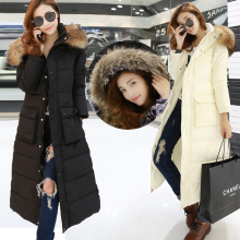 2016  China New Winter Coat Fur Super Long Thick Down Coat Slim Women Plus Sze Candy Color Down Jacket