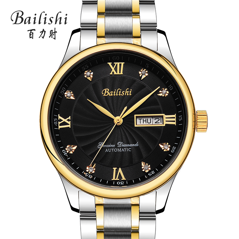 Bailishi Classic  Wrap Mens Watches Top Brand Luxury Automatic Watch Golden Case Calendar Male Clock Black Mechanical Watch ultra luxury 2 3 5 modes german motor watch winder white color wooden black pu leater inside automatic watch winder