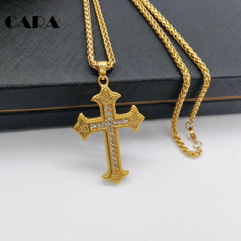 2019 New Rhinestones Cross pendant necklace Plated 316L Stainless steel Luxury cross necklace fashion hip hop necklace CARA0558 in Pendant Necklaces from Jewelry Accessories