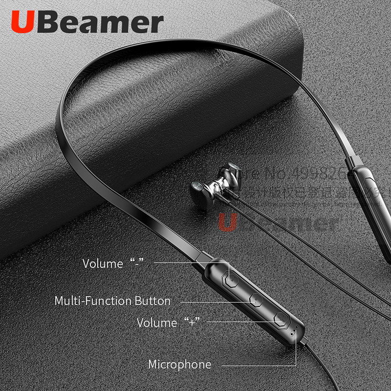Ubeamer Q7 Bluetooth 5.0 Earphone 4D Sound Wireless Headset Neck-hanging 135mAh large battery Magnetic Attraction for SmartPhone
