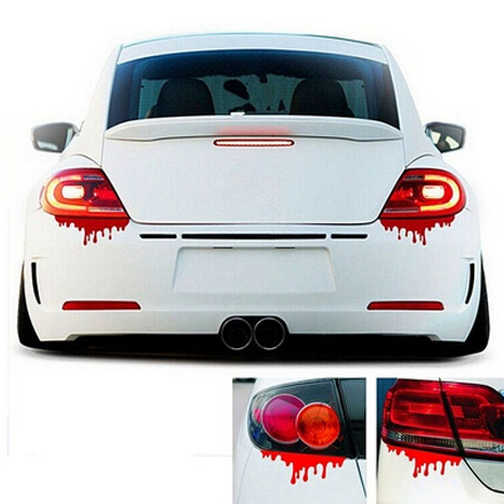 Sticker design for car online - 50 Off 1pc Universal Red Blood Car Stickers Reflective Car Decals Light Bumper Body Sticker