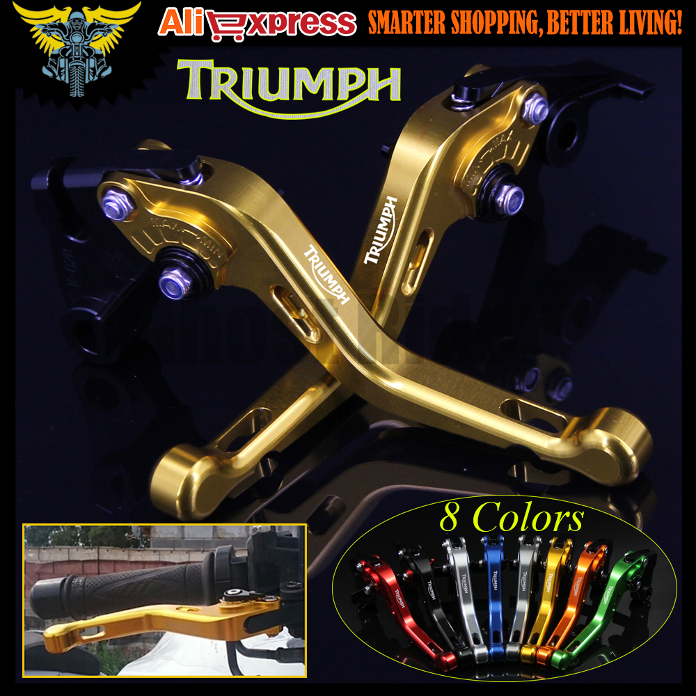 8 Colors For Triumph THRUXTON 2004-2008 2009 2010 2011 2012 2013 2014 2015 CNC 2 finger Short Motorcycle Brake Clutch Levers for honda vfr 1200 f 2010 2011 2012 2013 2014 2015 2016 laser logo vfr1200f sliver titanium cnc motorcycle brake clutch levers