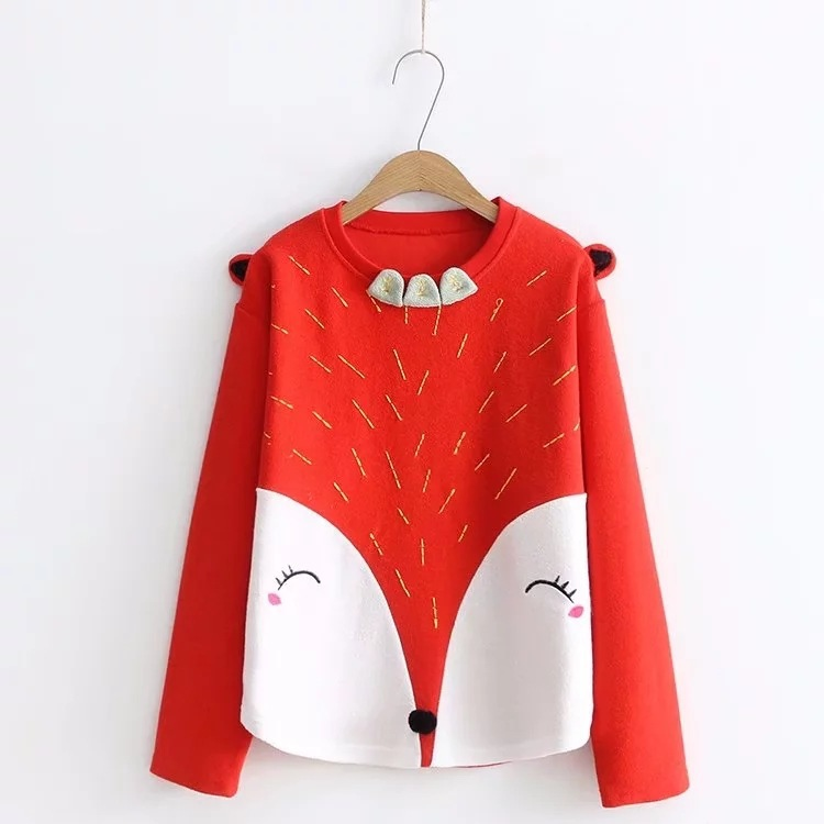 New fashion schoolgirl pullover in spring ,Japanese style Small fresh cartoon fox embroidery sweatshirts female clothes coat